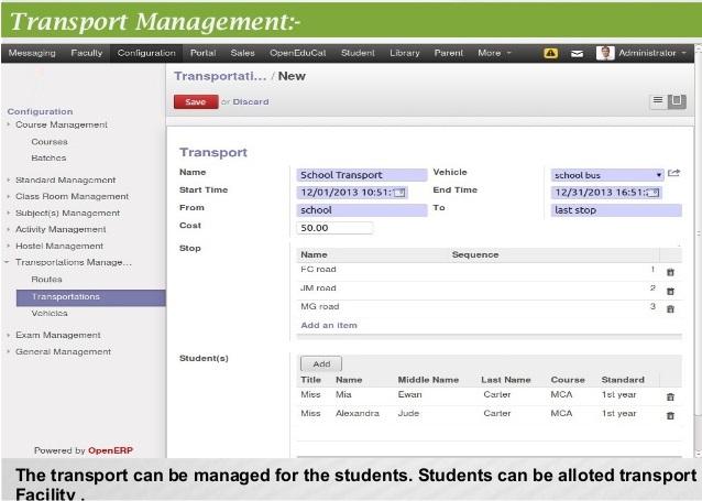 University Transport Management System